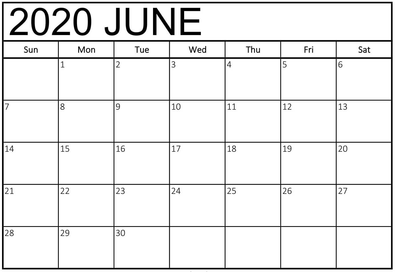 Print June 2020 Calendar Blank