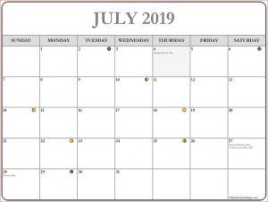 Printable July 2019 Moon Calendar Template