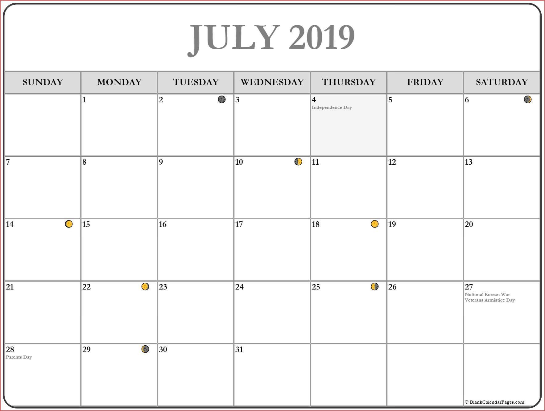 Printable July 2019 Moon Calendar Template