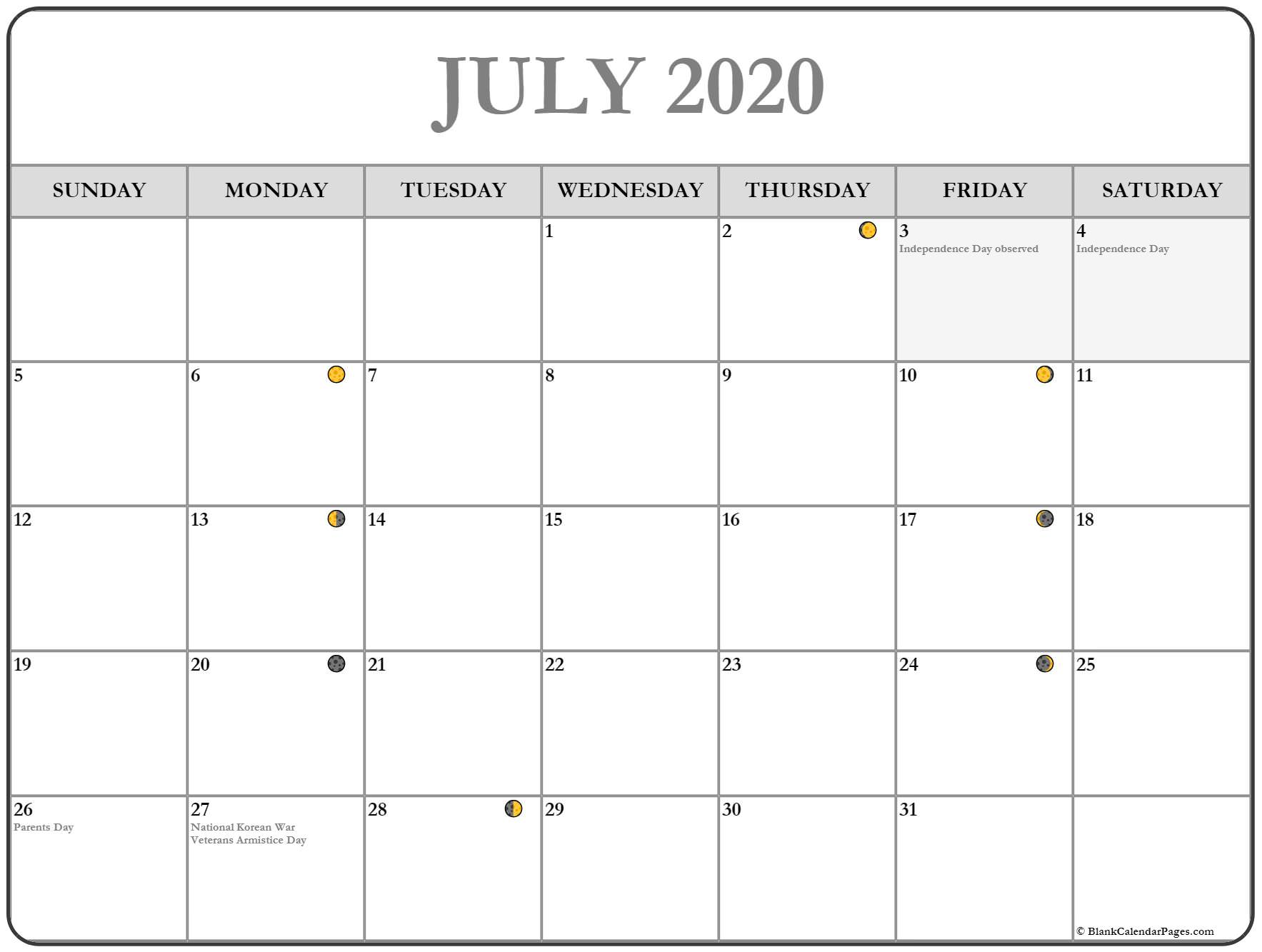 Printable July 2020 Moon Calendar