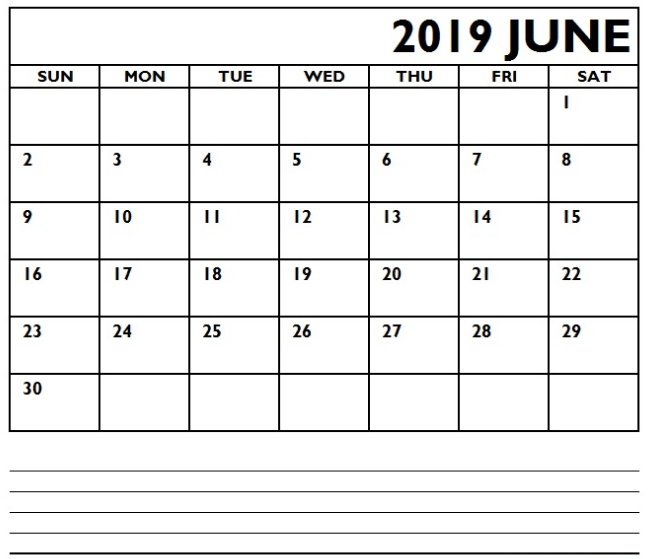 Printable June 2019 Calendar Editable With Notes