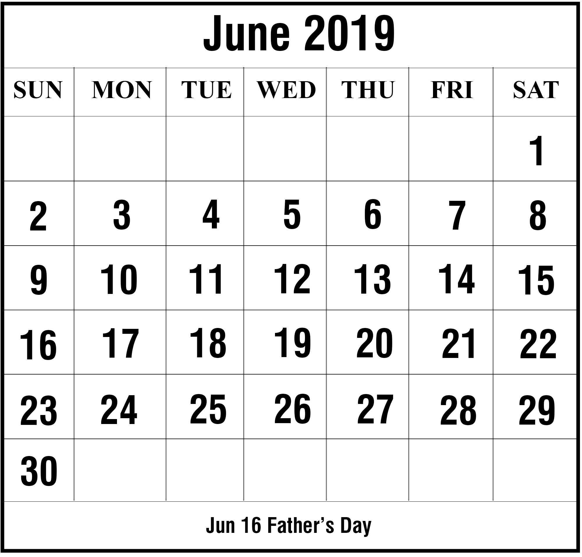 Printable June 2019 Editable Calendar
