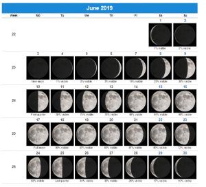 Printable June 2019 Moon Calendar