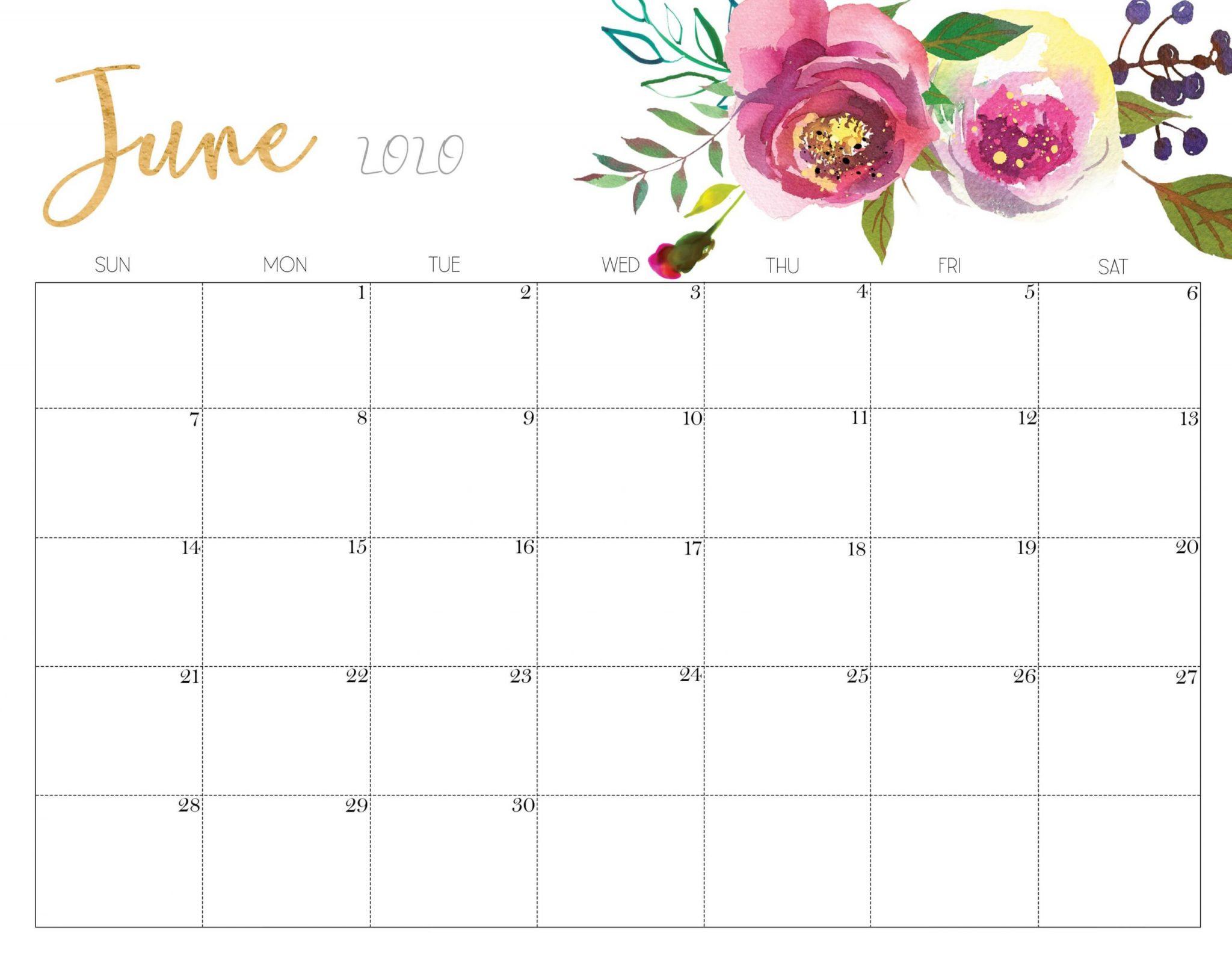Printable June 2020 Calendar Floral