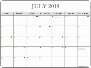 Printable Moon Calendar Blank Template July 2019