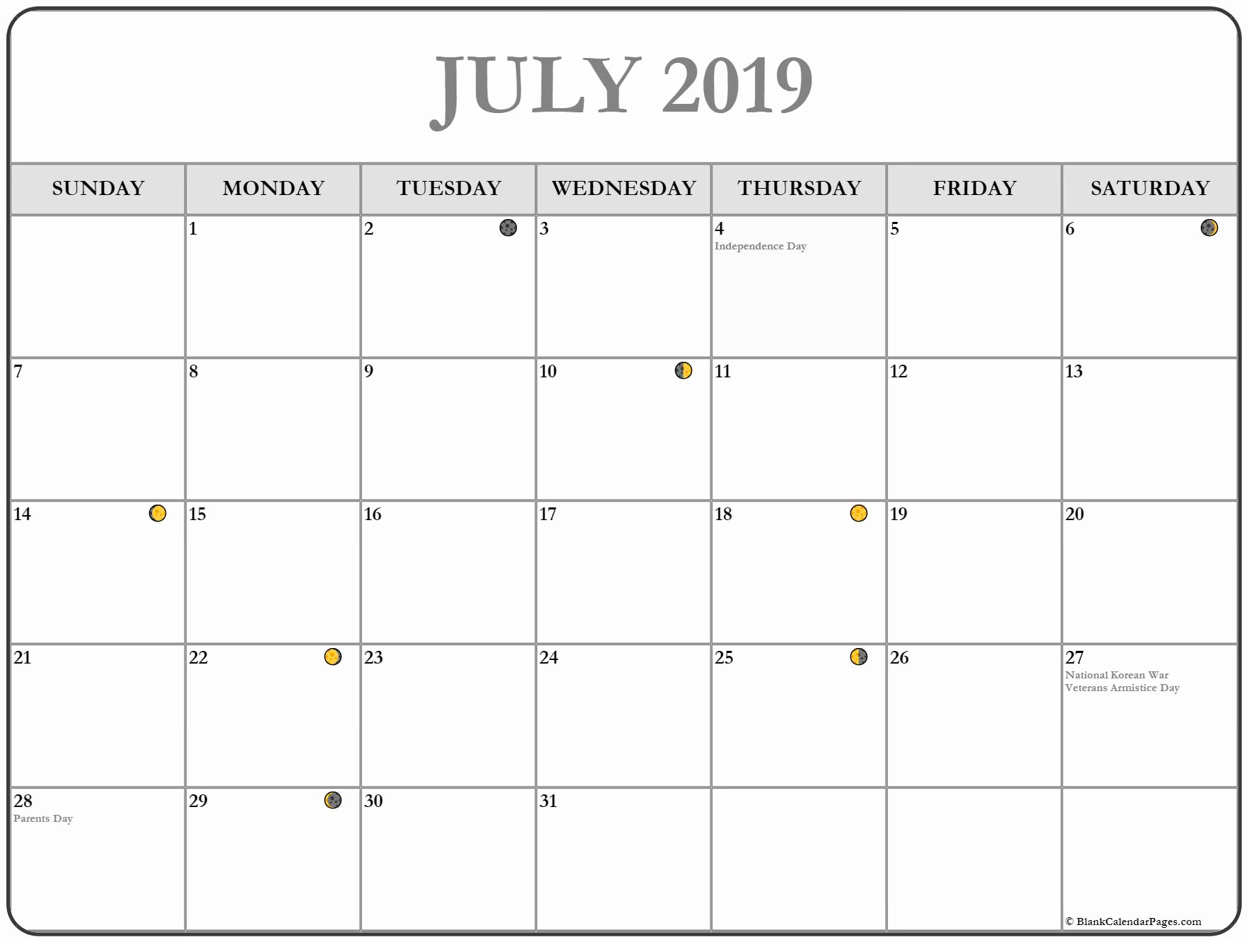 Printable Moon Calendar Blank Template July 2019