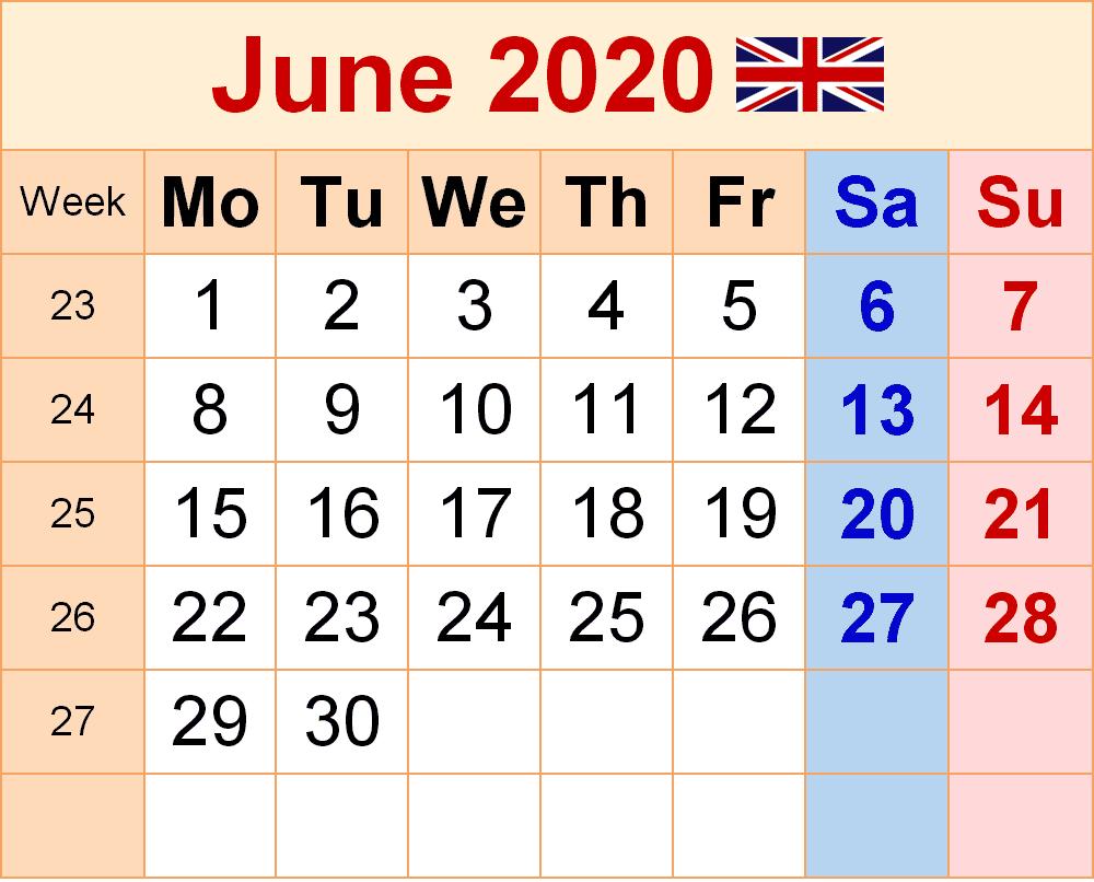 UK Holidays Calendar June 2020