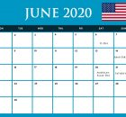 USA June 2020 Holidays Calendar