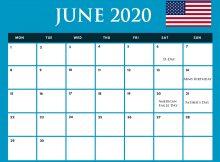 USA June 2020 Holidays Calendar