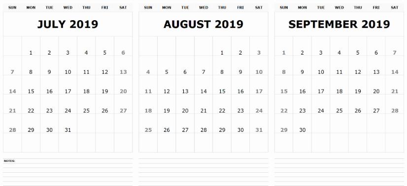 2019 July August September Calendar
