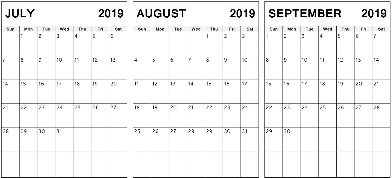 3 Month Calendar July August September 2019