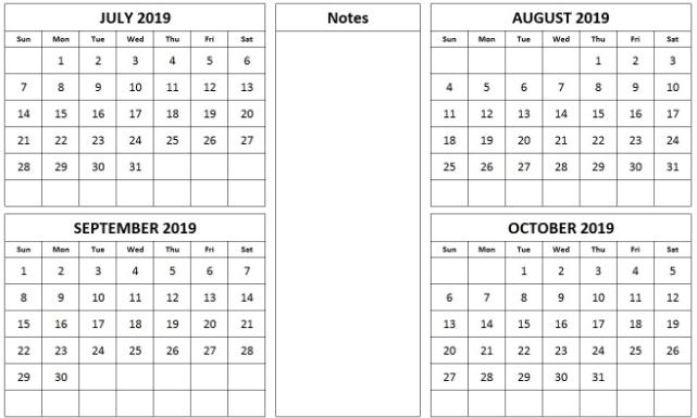 4 Month July August September 2019 Calendar