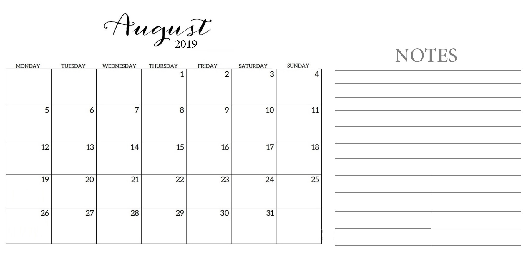 photo relating to Printable Calendar Pdf identified as Free of charge Printable August 2019 Calendar Template within just PDF Phrase Excel