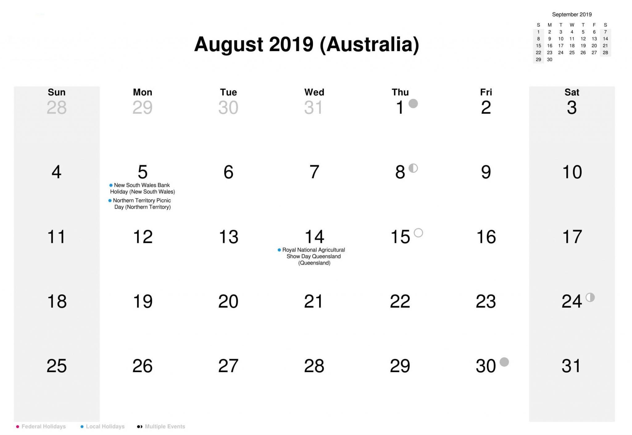 August 2019 Calendar Australia