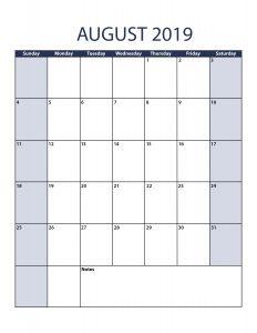 August 2019 Calendar Editable Page