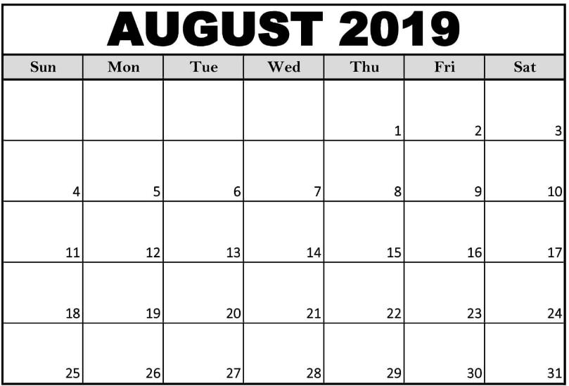 August 2019 Calendar Template Word
