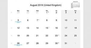 August 2019 Calendar UK
