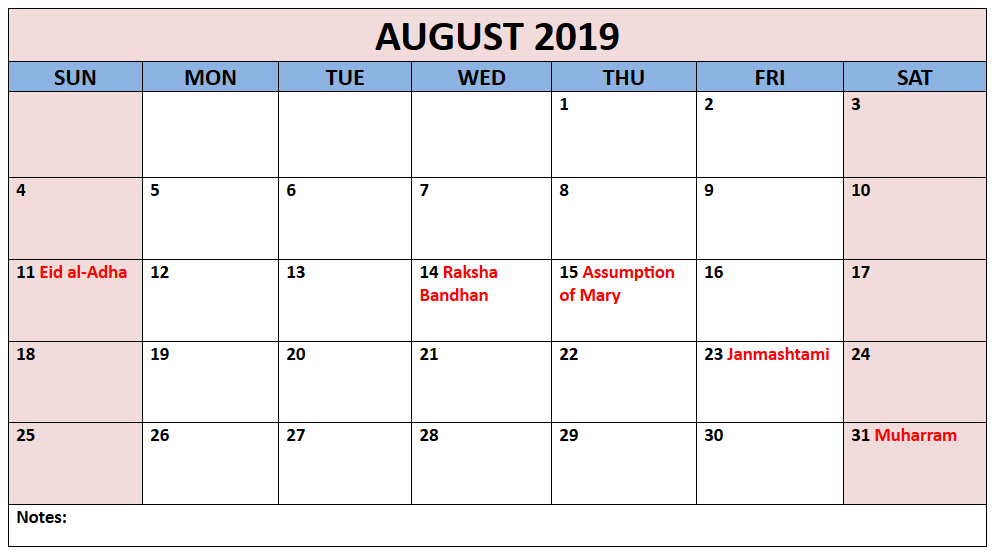 August 2019 Calendar With Holidays India