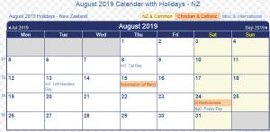August 2019 Calendar with Holidaya NZ