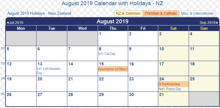 August 2019 Calendar with Holidaya NZ