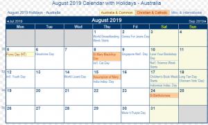 August 2019 Calendar with Holidays Australia