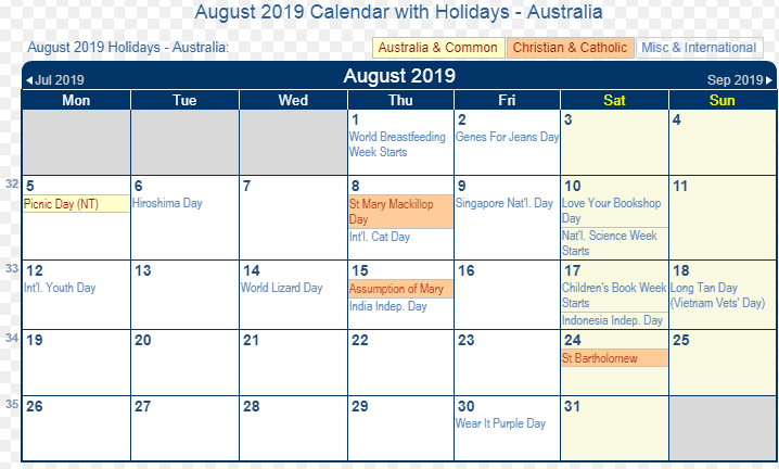 August 2019 Calendar With Holidays.August 2019 Australian Calendar