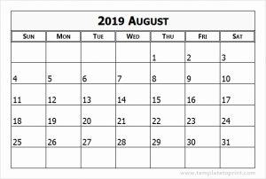 August 2019 Printable Calendar PDF
