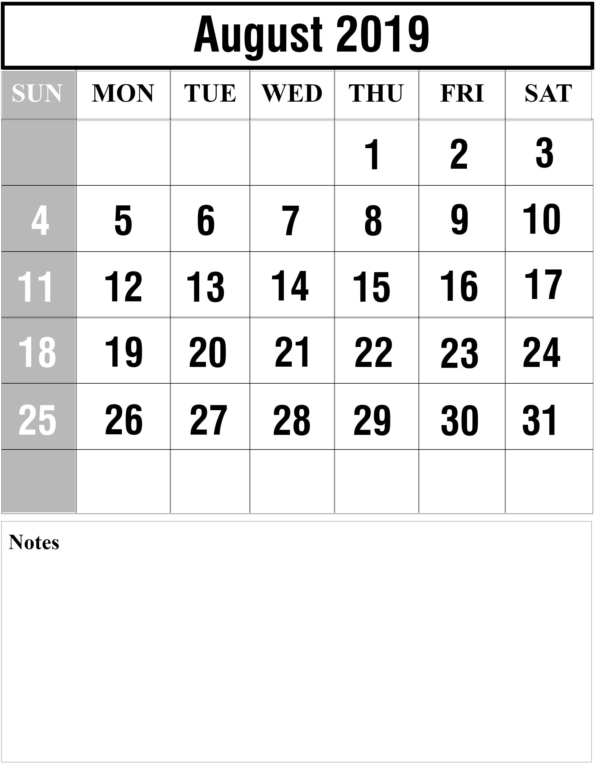 August 2019 Printable Calendar Page