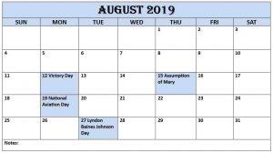August 2019 Printable Calendar with USA Holiday