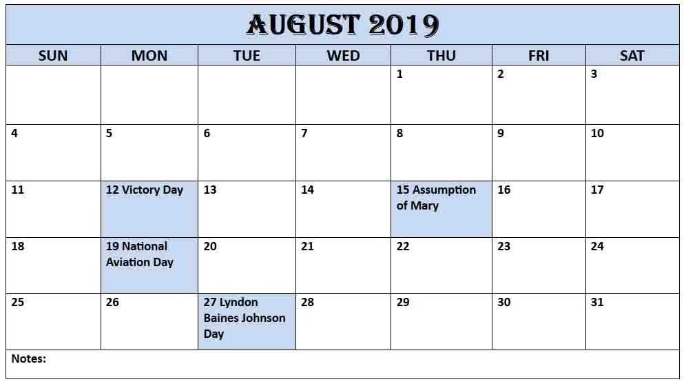 August 2019 Printable Calendar with USA Holiday