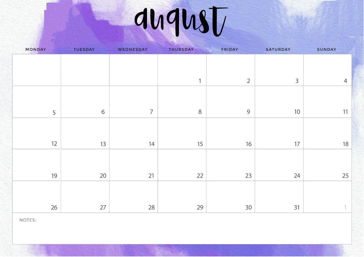 August 2019 Printable Desk Calendar