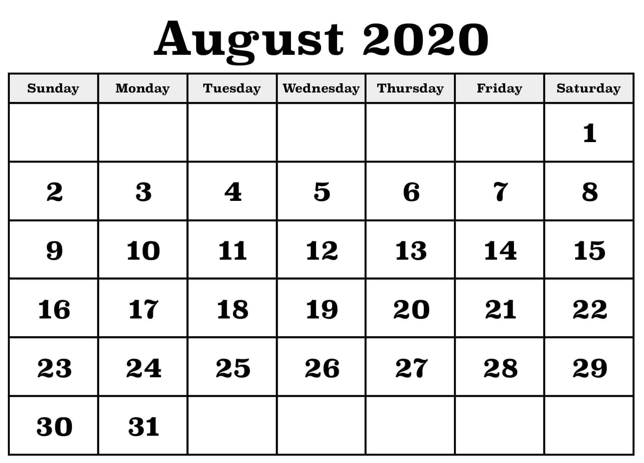 August 2020 Calendar Template Excel