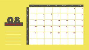 Beautiful August 2019 Printable Calendar Template