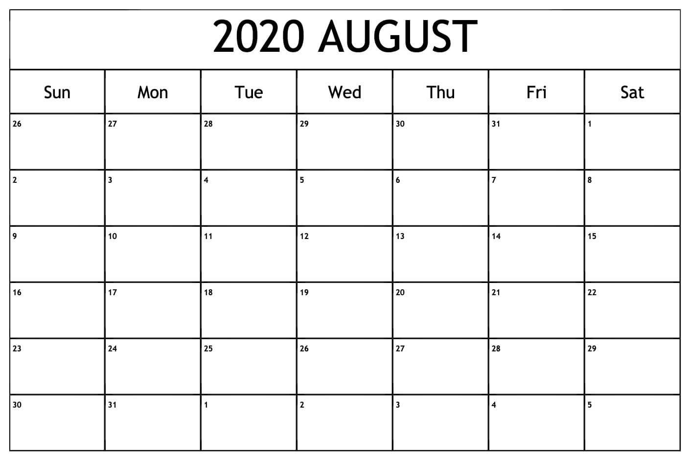 Blank August 2020 Calendar Template