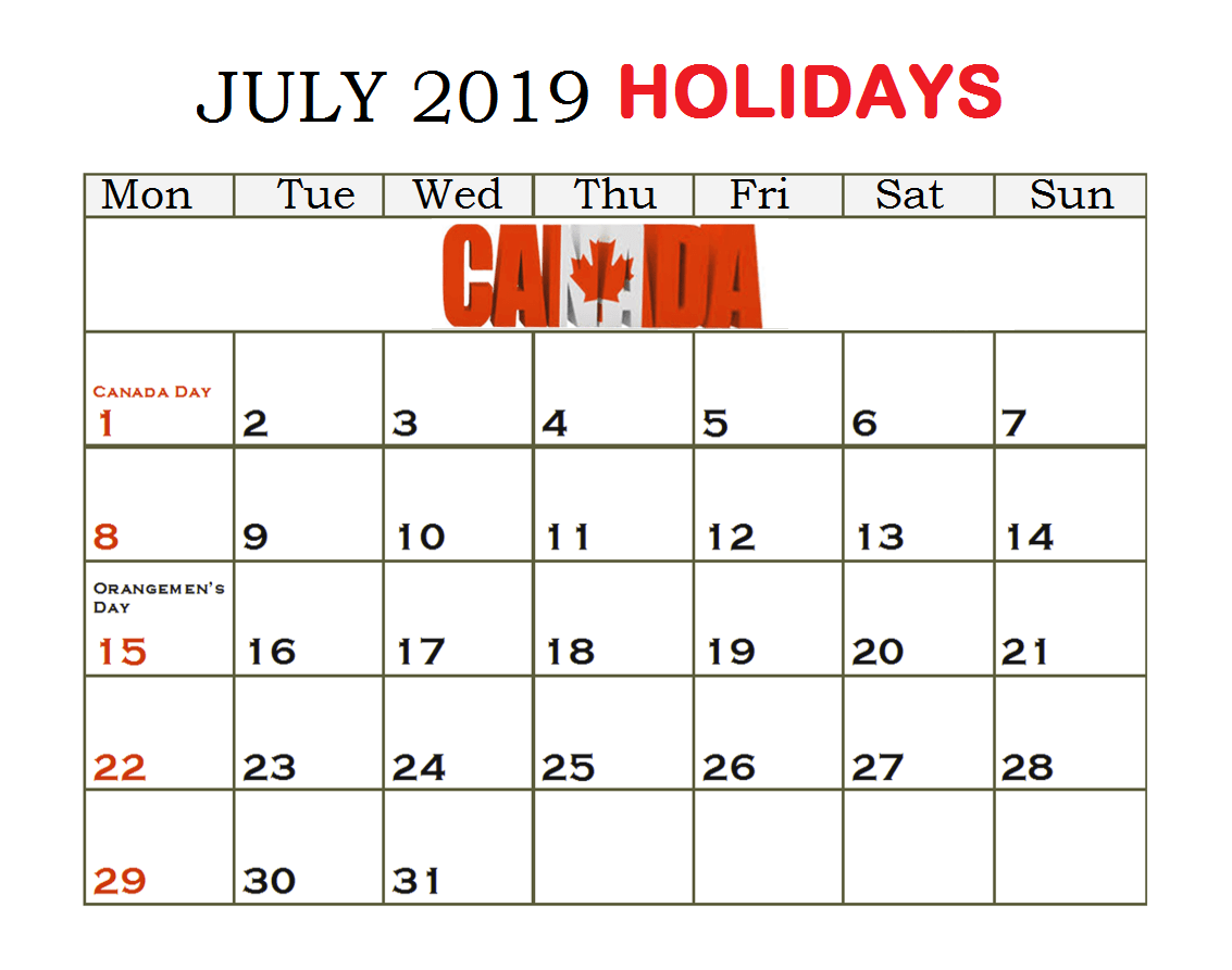 Canada July 2019 Holidays Calendar