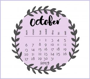 Cute October 2019 Calendar Wallpaper