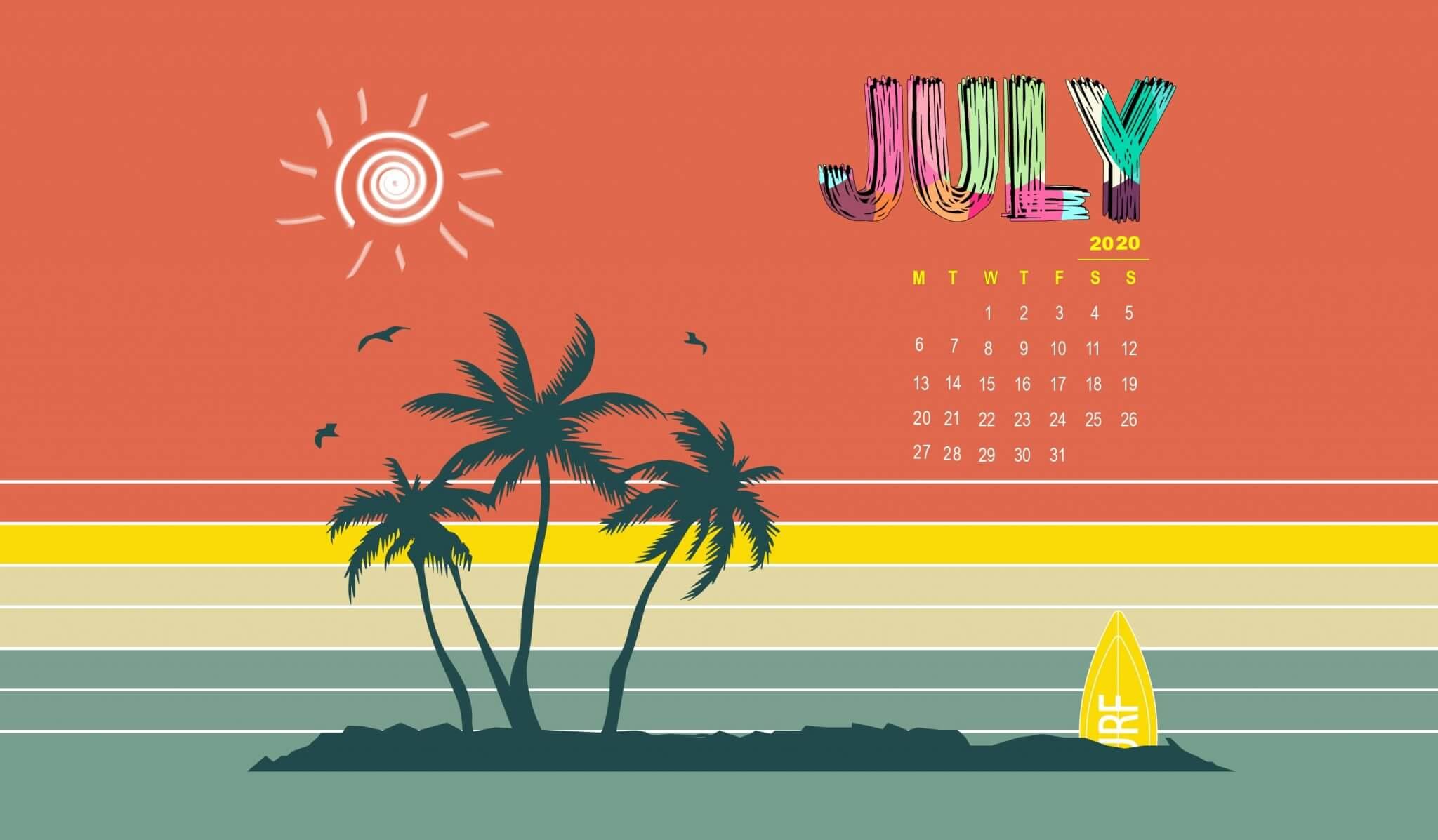 Desktop Calendar Wallpaper July 2020