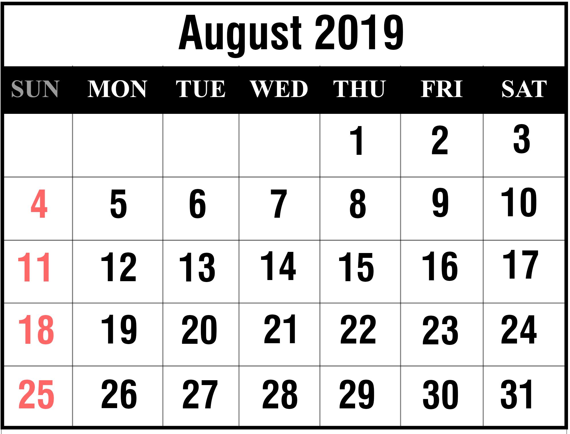 Editable August 2019 Calendar Printable