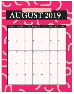 Editable August 2019 Desk Calendar