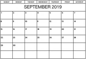Editable Printable September 2019 Calendar