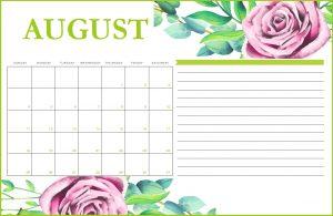 Floral August 2019 Printable Calendar