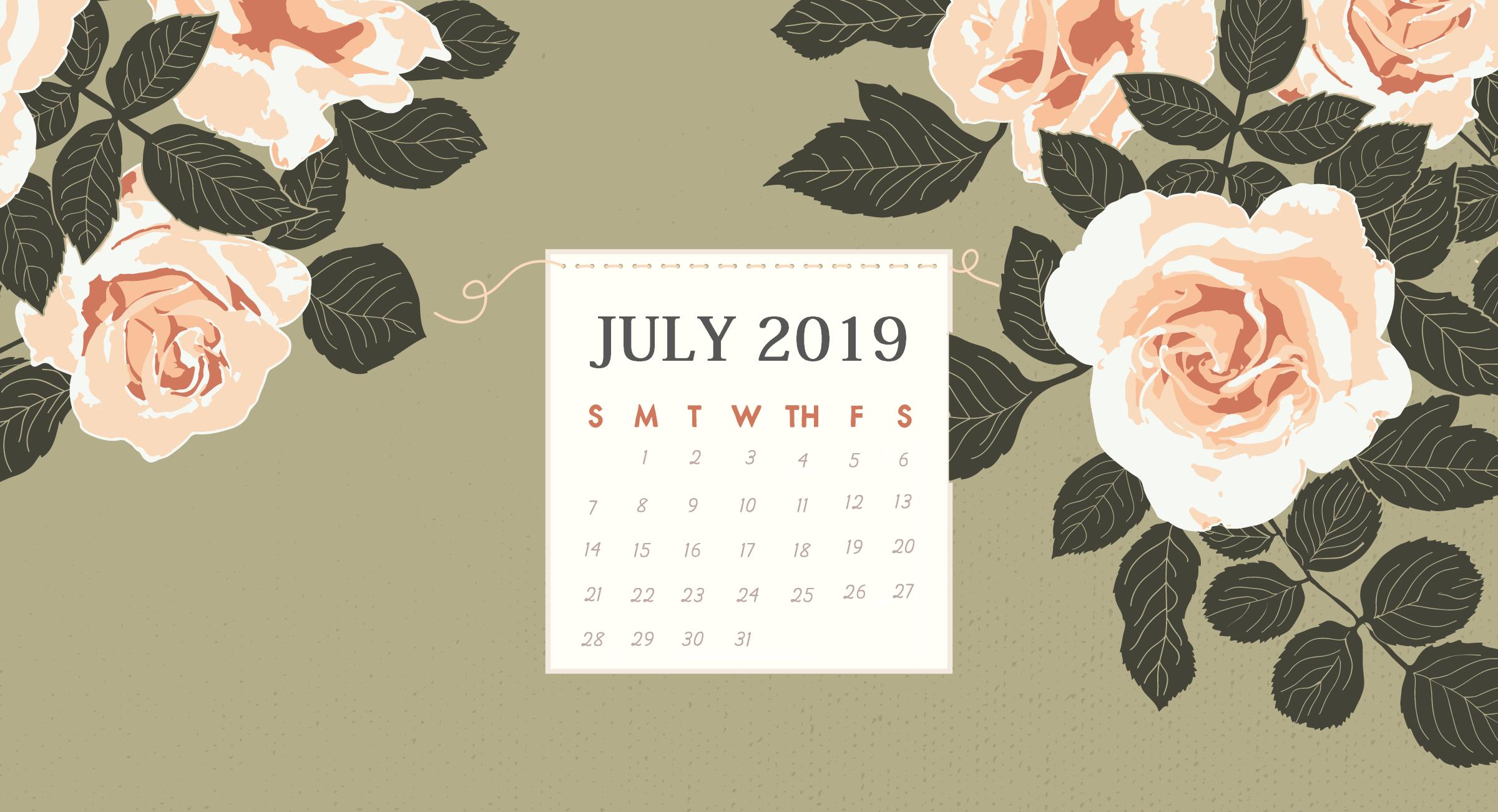 Floral July 2019 HD Calendar Wallpaper