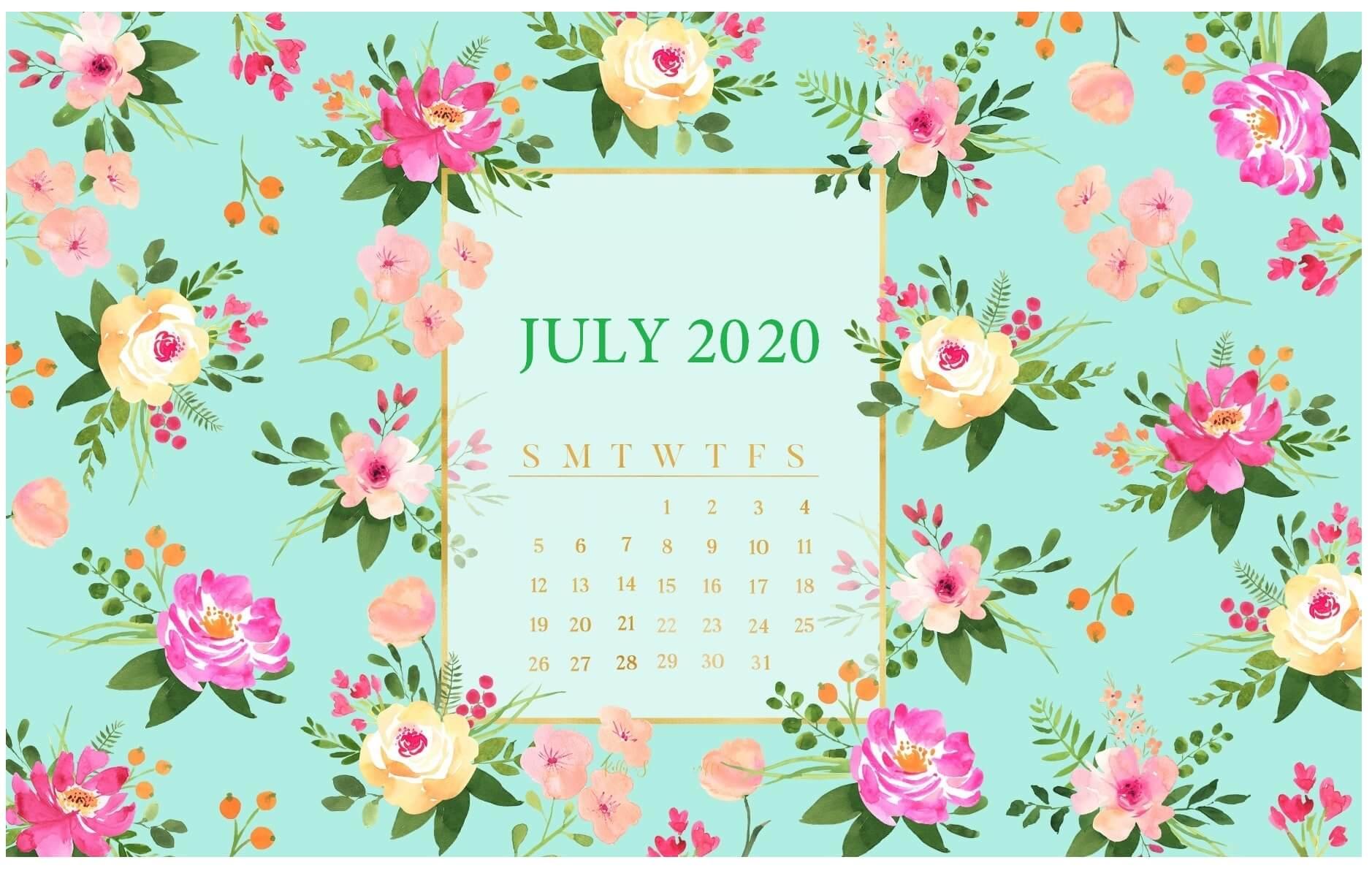 Floral July 2020 Calendar Wallpaper