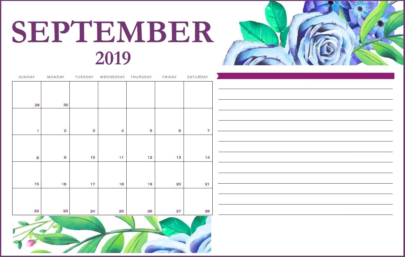 Floral September 2019 Calendar Design