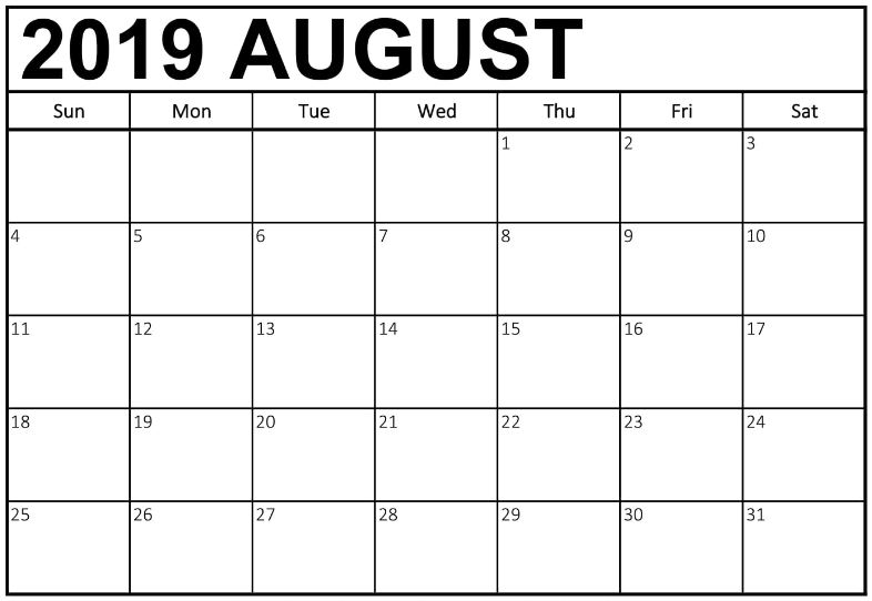 Free Calendar Template August 2019