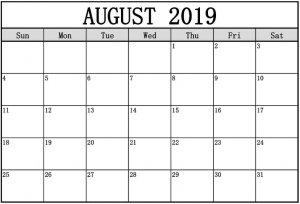 Free Printable August 2019 Calendar Template