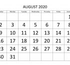 Free Printable August 2020 Calendar Template