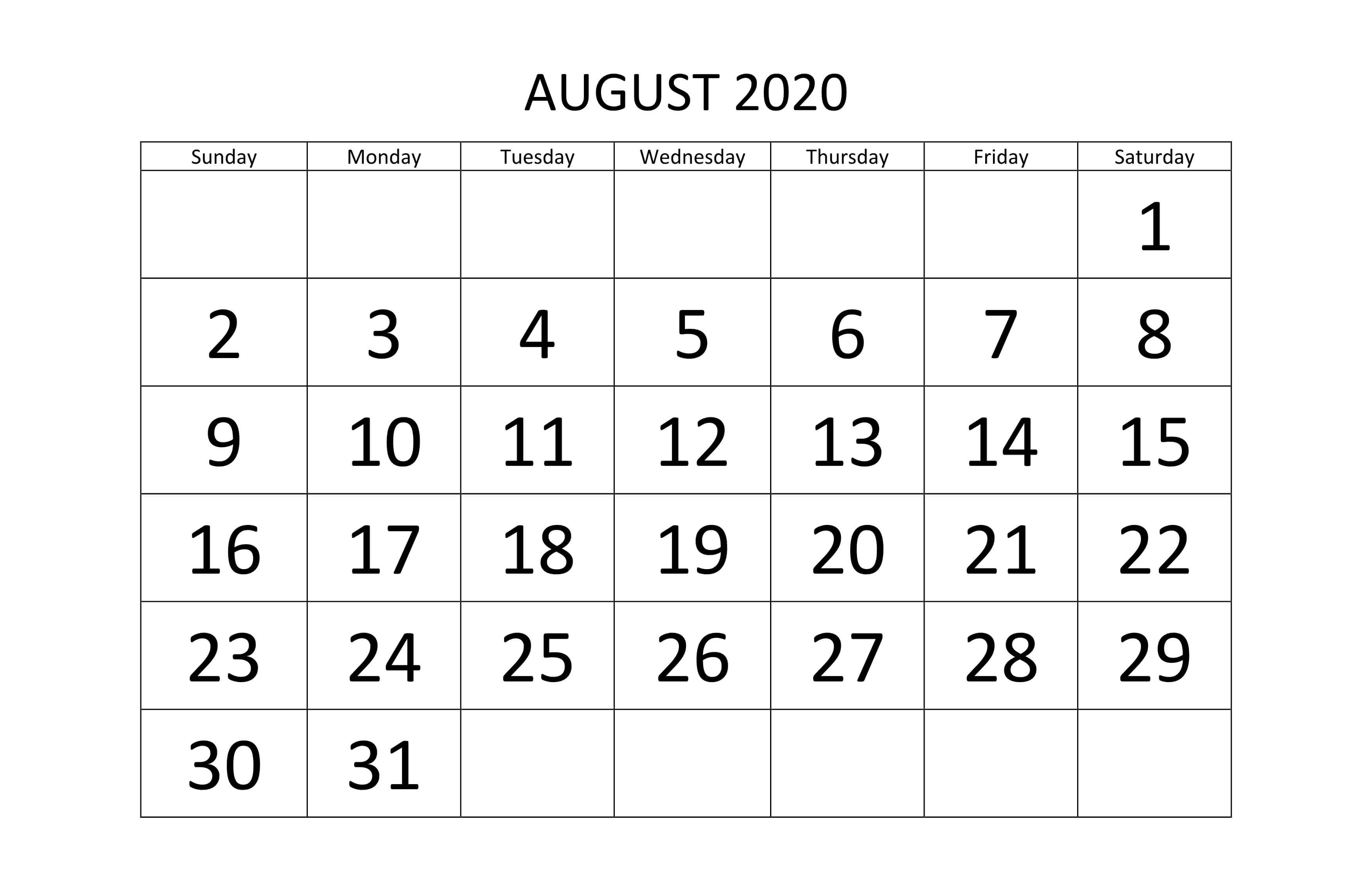 Free Printable August 2020 Calendar Template