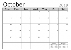 Free Printable Calendar October 2019 Template