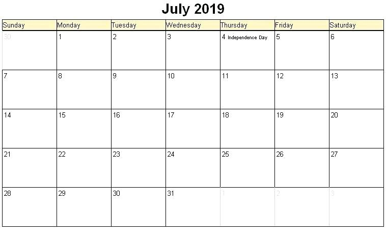 Holidays Calendar July 2019
